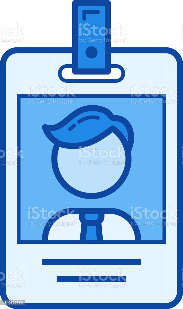 Identification card line icon vector art illustration