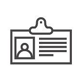 Identification Card Thin Line Vector Icon
