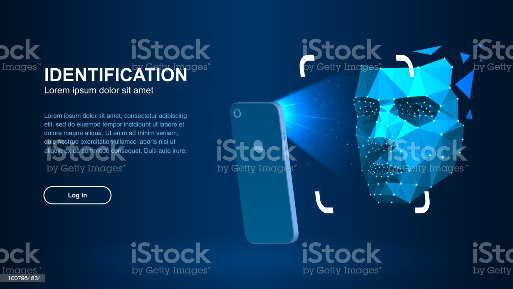 Identification of a person through the system of recognition of a human face. vector art illustration