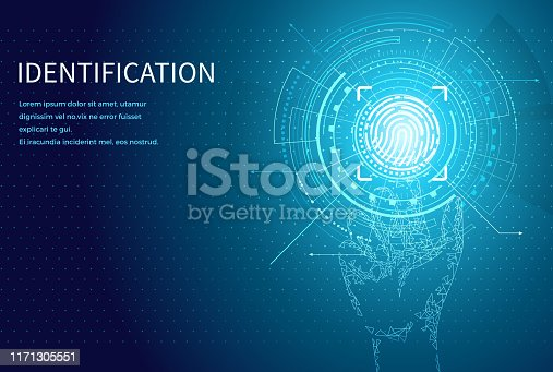 Identification personal identity fingerprint poster with digital data screen and text vector. Fingermark and thumbprint authorization of unique human finger