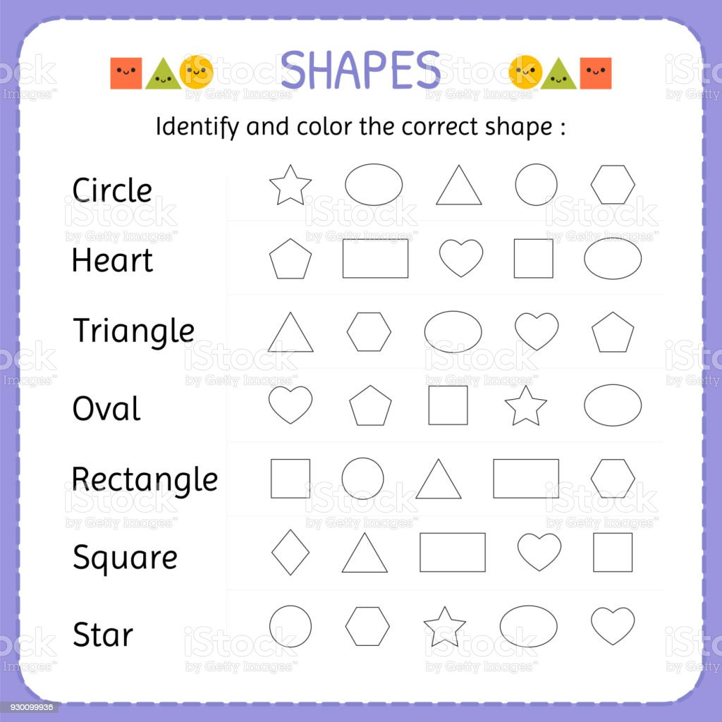 Identify And Color The Correct Shape Learn Shapes And ...