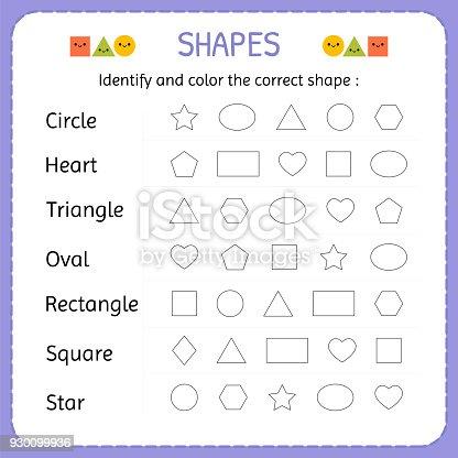 Identifizieren Und Farbe Die Richtige Form Formen Und Geometrischen ...
