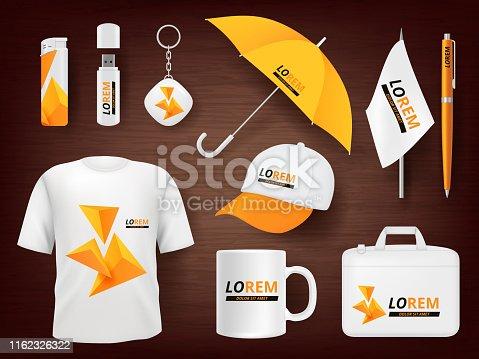 Identity. Business corporate souvenir promotion stationery items uniform badges packages pen lighter cap vector realistic mockup