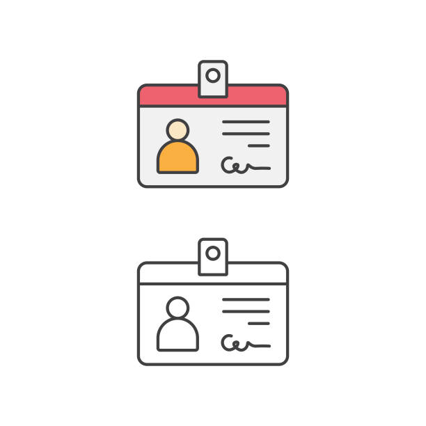 Identity Card, Car Driver, Driving License, Line Icon and Flat Design. Vector Illustration EPS 10 File. id card stock illustrations