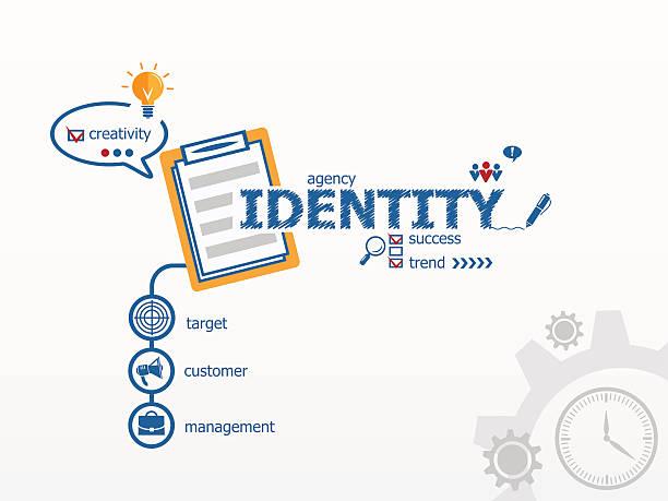 identität design-konzept und notebook für effizienz, kreativität, - arbeitsvermittlung stock-grafiken, -clipart, -cartoons und -symbole