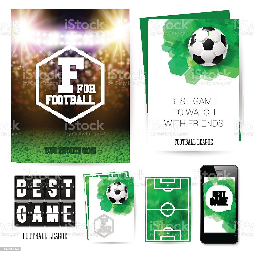 Identity design for Your football club. Set of blanks, business vector art illustration