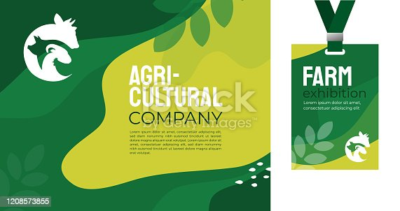 Design template for farming, agriculture, livestock business. Identity for agricultural company, agro conference, event, farm exhibition. Mockup ID card with strap. Vector illustration for banners, ad