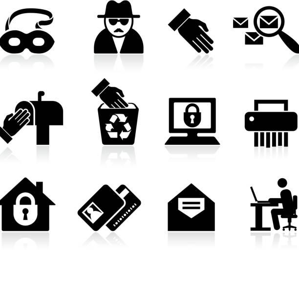 ilustraciones, imágenes clip art, dibujos animados e iconos de stock de identidad fraude blanco y negro sin royalties de conjunto de iconos vectoriales - robo de identidad