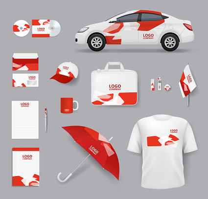 Identity set. Business souvenirs corporate products cards blank stationery tools cars vector identity elements collection
