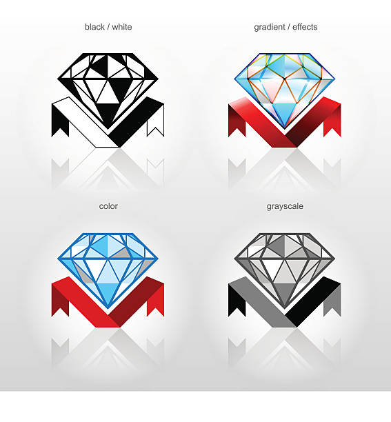 identity symbol for jewelry industry companies - diamond tattoos stock illustrations, clip art, cartoons, & icons