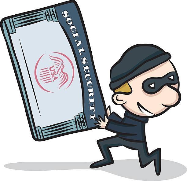 ilustraciones, imágenes clip art, dibujos animados e iconos de stock de robo de identidad - robo de identidad