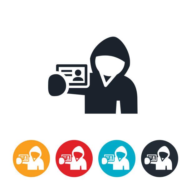 ilustraciones, imágenes clip art, dibujos animados e iconos de stock de icono de identidad theif - robo de identidad