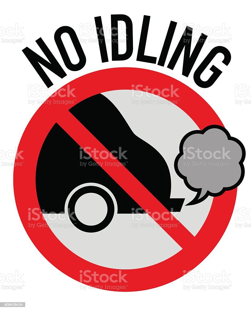Idle free zone turn engine off sign, no idling