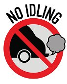 Idle free zone turn engine off sign, no idling