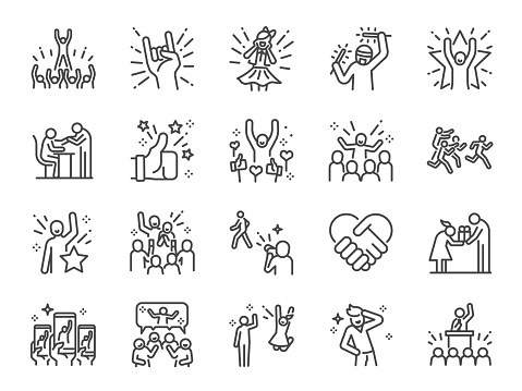 Idol line icon set. Included icons as popular, famous, star, singer, actor, actress and more. clipart