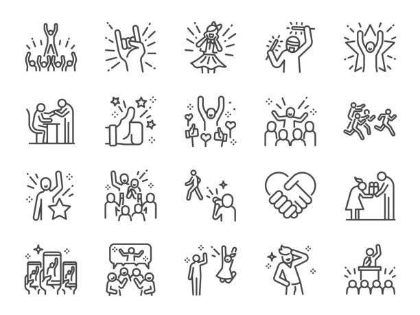 ilustrações, clipart, desenhos animados e ícones de conjunto de ícones da linha idol. incluiu ícones como populares, famosos, estrelas, cantor, ator, atriz e muito mais. - excitação