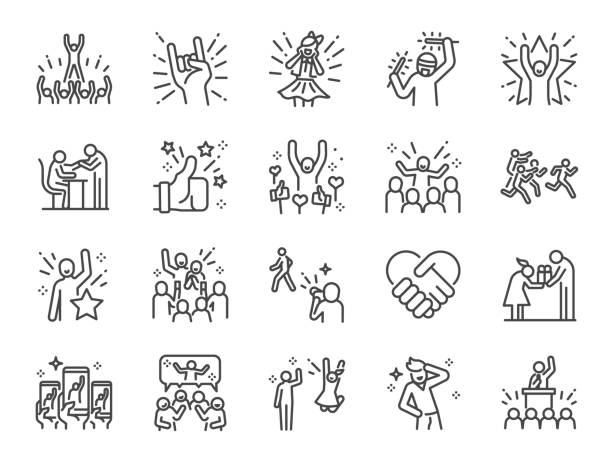 Idol line icon set. Included icons as popular, famous, star, singer, actor, actress and more. Idol line icon set. Included icons as popular, famous, star, singer, actor, actress and more. excited stock illustrations