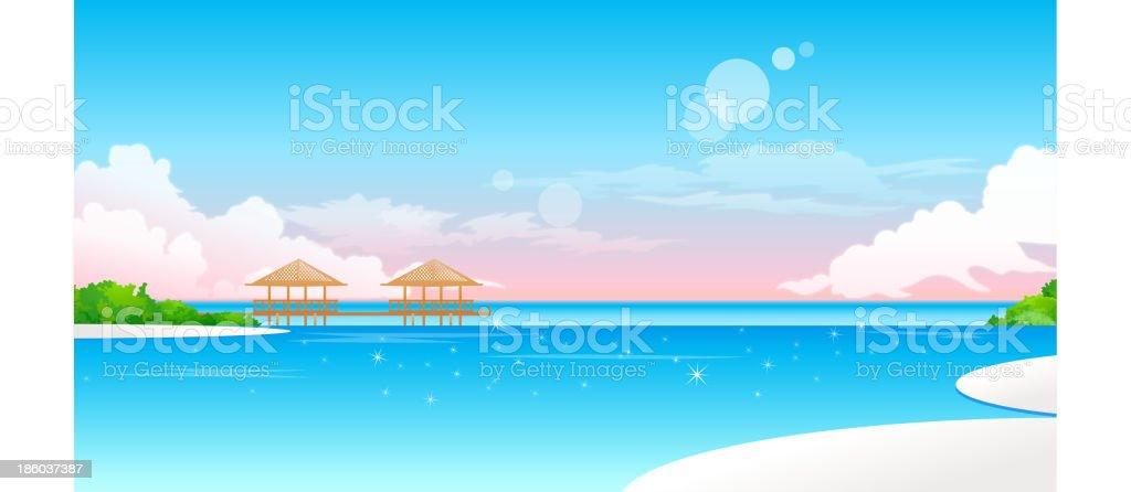 Idyllic Beach with jetty vector art illustration