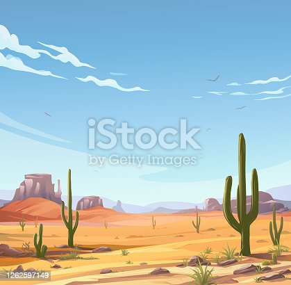 Illustration of a desert landscape with Saguaro cactus. In the background are hills and mountains and a blue cloudy sky. Vector illustration with space for text.