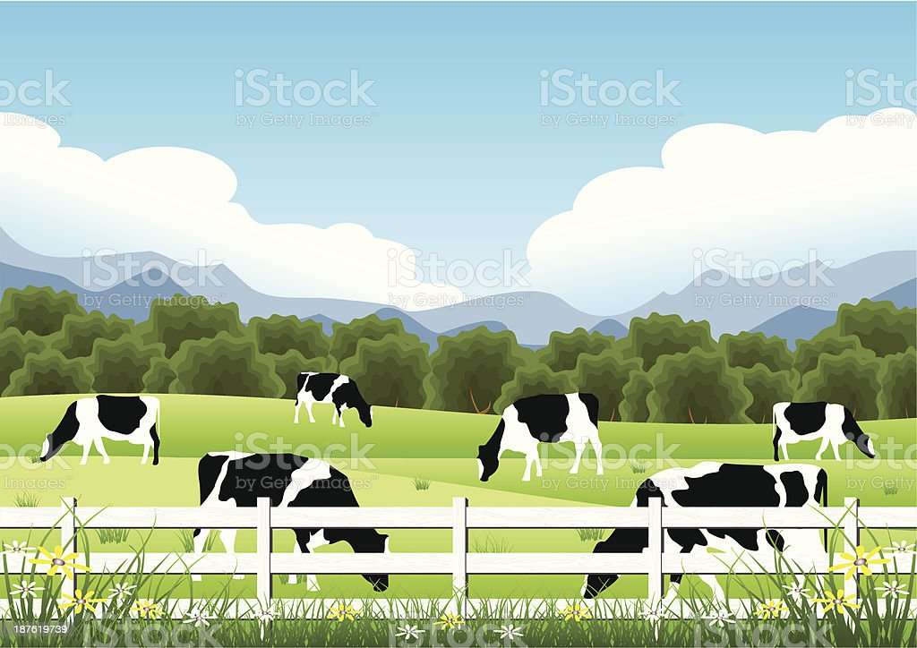 Idyllic Farm Scene vector art illustration