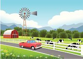 istock Idyllic Farm Scene with Truck in the Foreground. 158217616