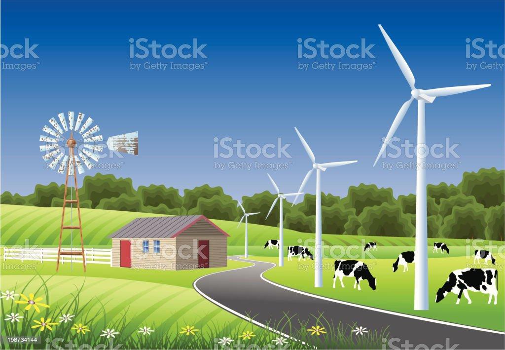 Idyllic Farm Scene with Windmills royalty-free stock vector art