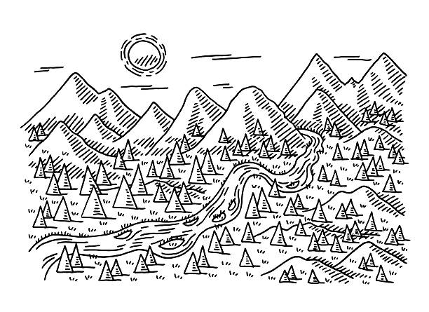 idyllic landscape trees river mountains drawing - black and white mountain stock illustrations, clip art, cartoons, & icons