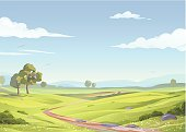 An idyllic landsapce with trees, green meadows, hilly fields and a blue sky with clouds. Illustration with space for text. EPS 8, grouped and all labeled in layers.