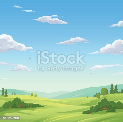 Vector illustration of a spring or summer landsapce with trees, bushes, hills and green meadows under and a cloudy blue sky with. Illustration with space for text.