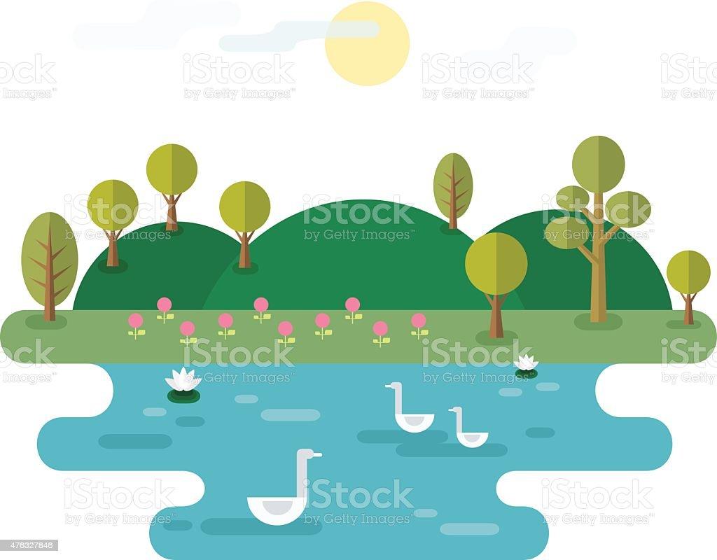 Idyllic Landscape With Lake vector art illustration