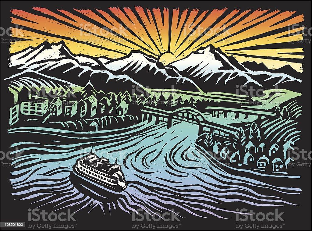 idyllic Pacific Northwest Washington USA scratch art