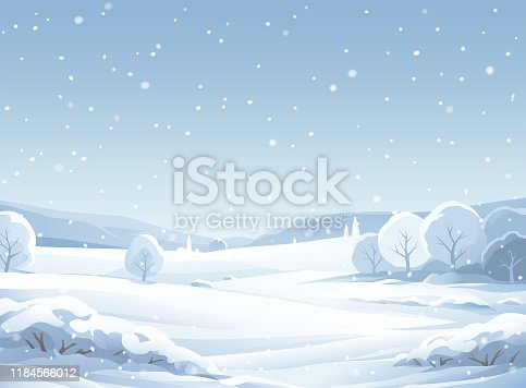 A winter landscape with snowy trees, hills and mountains. The sky is gray and it's snowing. Vector illustration with space for text.