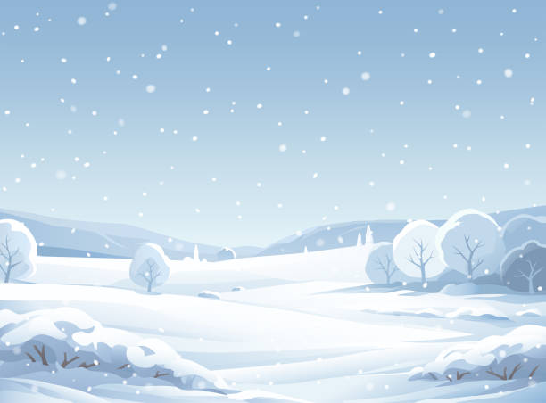 Idyllic Snowy Winter Landscape A winter landscape with snowy trees, hills and mountains. The sky is gray and it's snowing. Vector illustration with space for text. christmas backgrounds stock illustrations