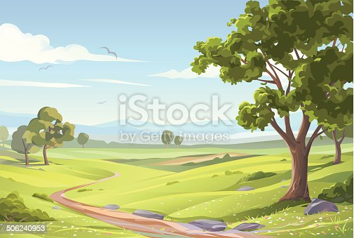 An idyllic landsapce with trees, green meadows, hilly fields and a blue sky with clouds. EPS 8, grouped and all labeled in layers.