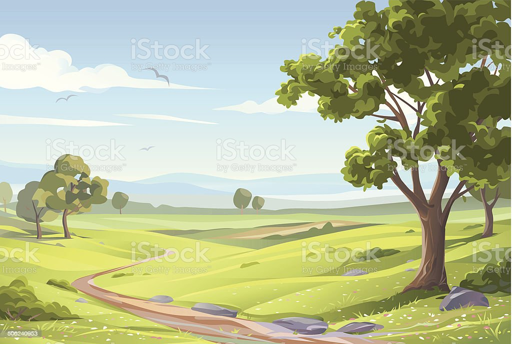 Idyllic Summer Landscape vector art illustration