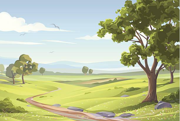 Paysage d'été de rêve - Illustration vectorielle