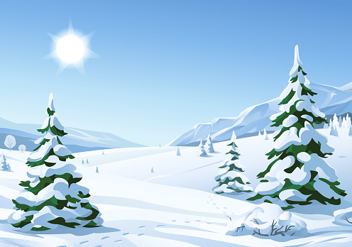 Idyllic Sunny Winter Landscape