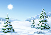 Vector illustration of a sunny winter mountain landscape with snowy fir trees, hills and mountains.