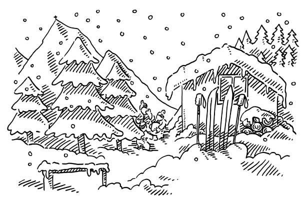 Idyllic Winter Landscape Alpine Hut Drawing Hand-drawn vector drawing of a Idyllic Winter Landscape with a Alpine Hut and three children playing in the snow. Black-and-White sketch on a transparent background (.eps-file). Included files are EPS (v10) and Hi-Res JPG. black white snow scene silhouette stock illustrations
