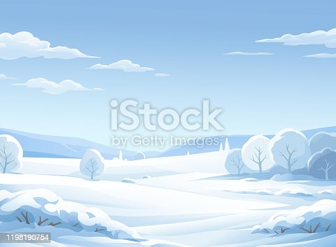 An idyllic winter landscape with snowy bushes, trees, hills and mountains. Vector illustration with space for text.