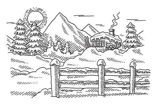 Idilliaco paesaggio di montagna invernale disegno for Disegno paesaggio invernale