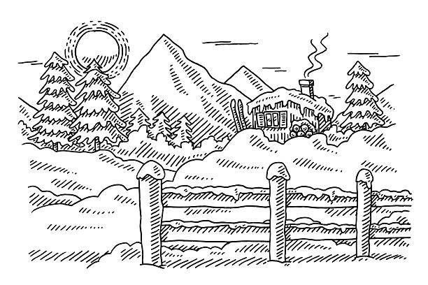 Idyllic Winter Mountain Landscape Drawing Hand-drawn vector drawing of an Idyllic Winter Mountain Landscape. Black-and-White sketch on a transparent background (.eps-file). Included files are EPS (v10) and Hi-Res JPG. black white snow scene silhouette stock illustrations
