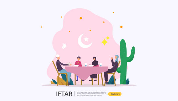 iftar eating after fasting feast party concept. moslem family dinner on ramadan kareem or celebrating eid with people character. web landing page template, banner, presentation, social or print media. - family dinner stock illustrations