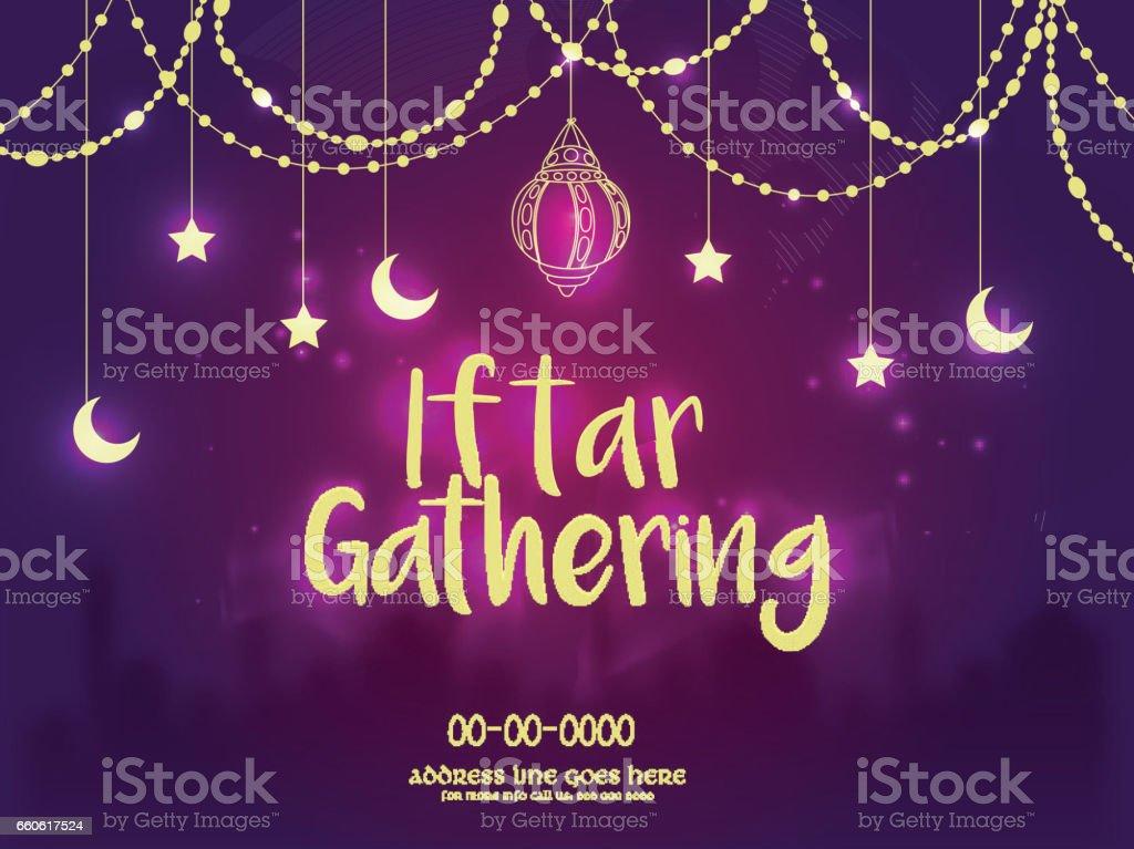 Reunión de iftar invitación fondo, concepto de Ramadán. - ilustración de arte vectorial