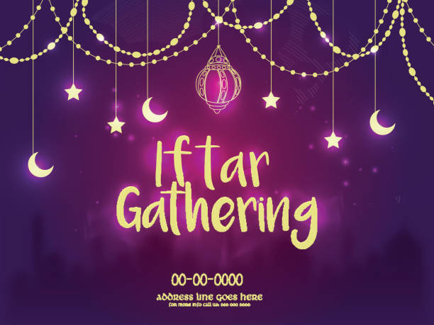 iftar gathering invitation background, ramadan concept. - ramadan stock illustrations, clip art, cartoons, & icons