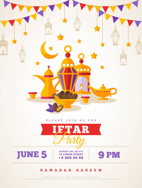 iftar party celebration - ramadan stock illustrations, clip art, cartoons, & icons