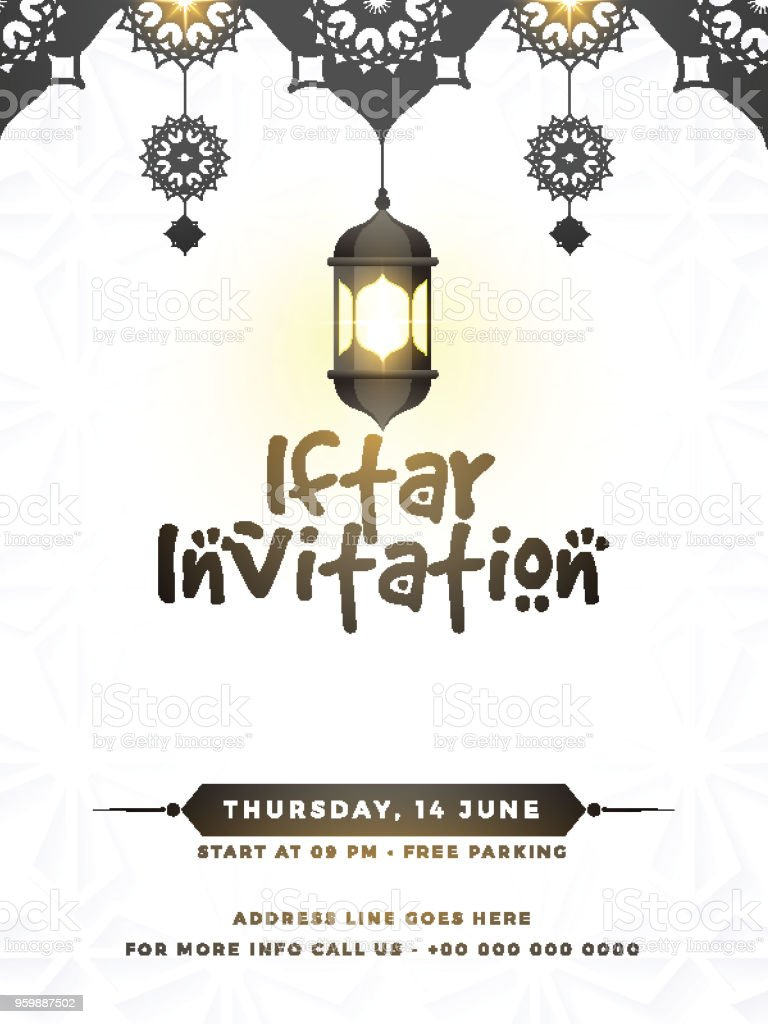 Iftar Party Invitation Card Design With Hanging Illuminate