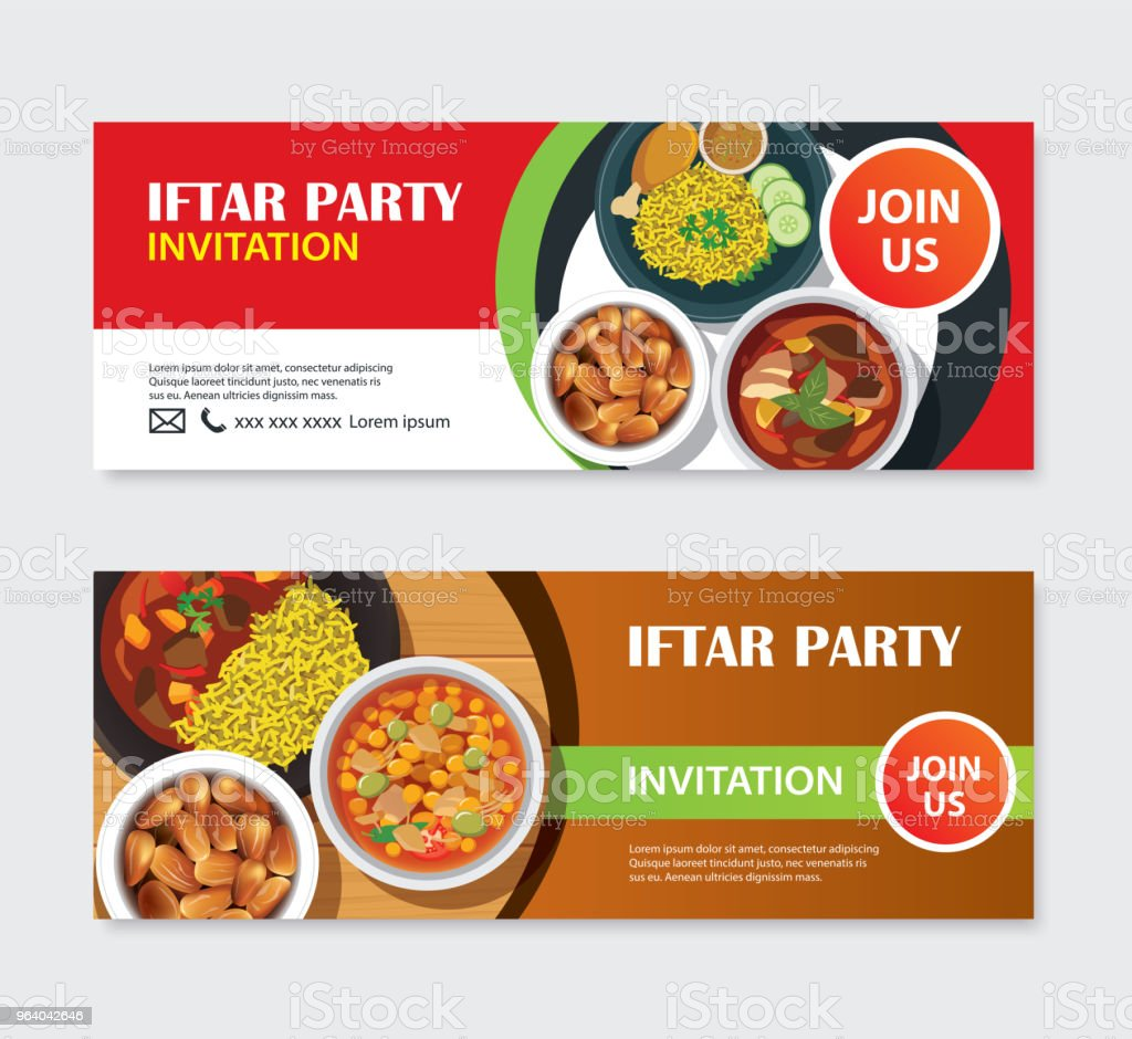 Iftar party invitations greeting card and banner with food background. Eid Mubarak vector illustration. Use for cover, poster, flyer, brochure, label, voucher, sale template. - Royalty-free Arabia stock vector