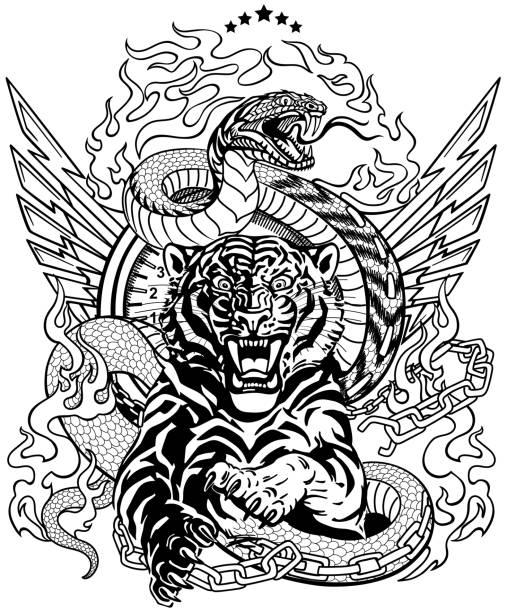 iger and snake. Road design. Black and white roaring tiger in the jump and snake like road. Design template include broken chain, tongues of flame and wings. Black and white  Biker Tattoo. Vector illustration snakes tattoos stock illustrations
