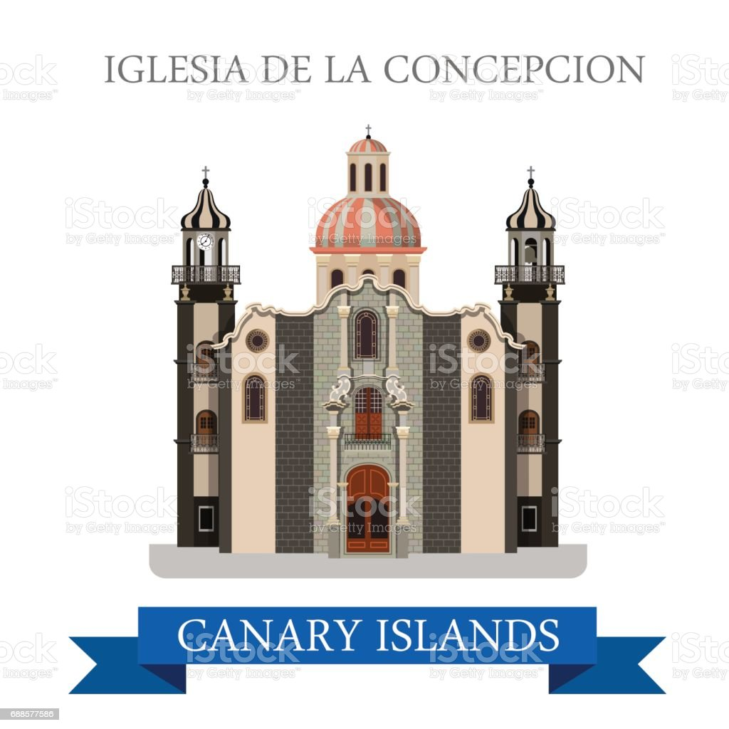 Iglesia de la Concepcion in Canary Islands. Flat cartoon style historic sight showplace attraction web site vector illustration. World countries cities vacation travel sightseeing Africa collection. vector art illustration